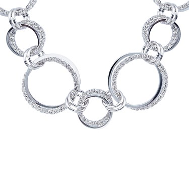 August Woods Silver Crystal Multi Loop Necklace   - Click to view larger image