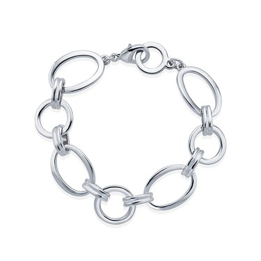 August Woods Silver Linked Oval Bracelet   - Click to view larger image
