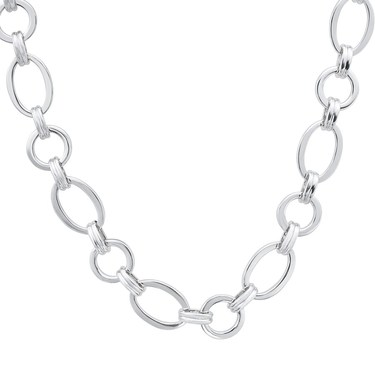 August Woods Silver Linked Oval Necklace   - Click to view larger image
