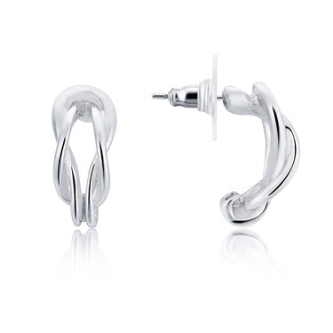 August Woods Silver Twist Hoop Earrings   - Click to view larger image