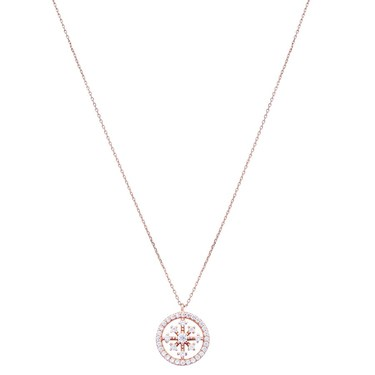 Argento Rose Gold Circle Snowflake Crystal Necklace  - Click to view larger image