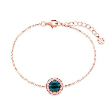 Argento Rose Gold + Green Malachite Halo Bracelet   - Click to view larger image