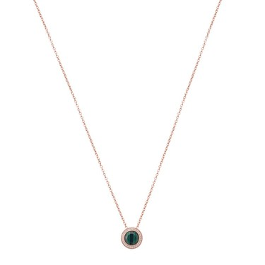 Argento Rose Gold + Green Malachite Halo Necklace   - Click to view larger image