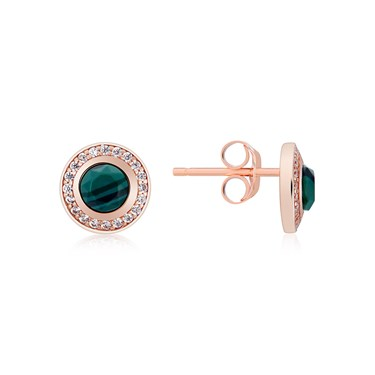 Argento Rose Gold + Green Malachite Halo Earrings   - Click to view larger image