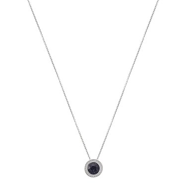 Argento Silver + Navy Crystal Halo Necklace  - Click to view larger image