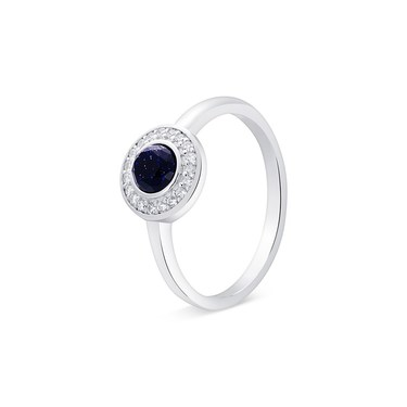 Argento Silver + Navy Crystal Halo Ring  - Click to view larger image