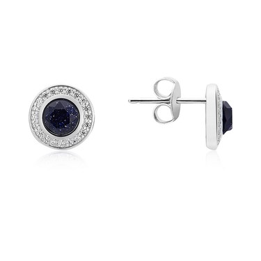Argento Silver + Navy Crystal Halo Earrings  - Click to view larger image