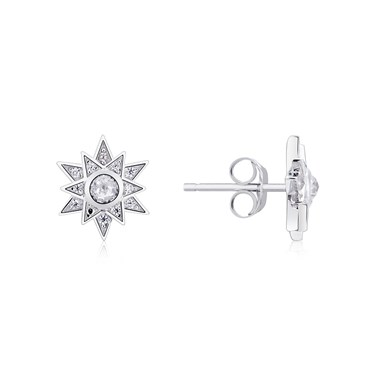 Argento Silver Crystal Star Snowflake Earrings  - Click to view larger image