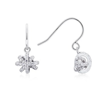 Argento Silver Sparkling Snowflake Drop Earrings  - Click to view larger image