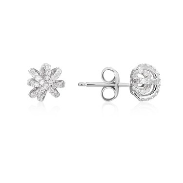 Argento Silver Sparkling Snowflake Earrings  - Click to view larger image