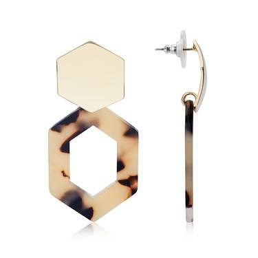 Dirty Ruby Gold  Hexagon Tortoiseshell Earrings   - Click to view larger image