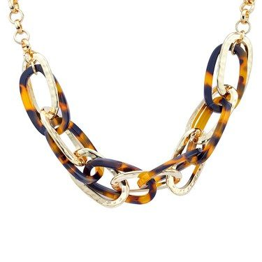 Dirty Ruby Gold Tortoiseshell Necklace   - Click to view larger image