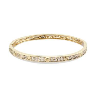 August Woods Gold Crystal Bolt Circle Bangle  - Click to view larger image