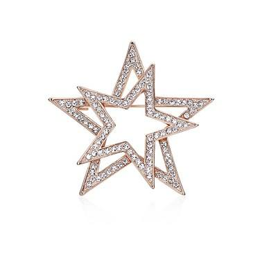 August Woods Rose Gold Crystal Star Brooch   - Click to view larger image