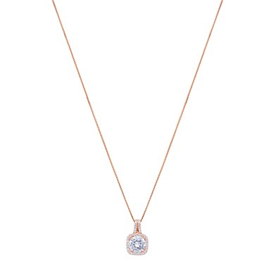 August Woods Rose Gold Halo Drop Necklace  - Click to view larger image