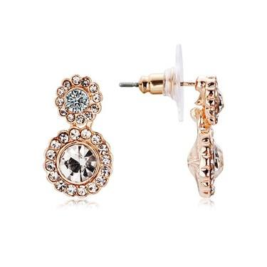 August Woods Rose Gold Flower Crystal Drop Earrings   - Click to view larger image