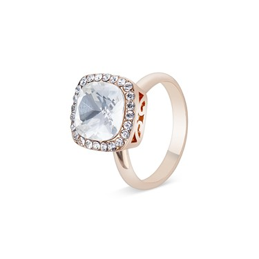August Woods Rose Gold Large Crystal Adjustable Ring   - Click to view larger image