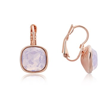 August Woods Rose Gold Rose Opal Square Earrings   - Click to view larger image