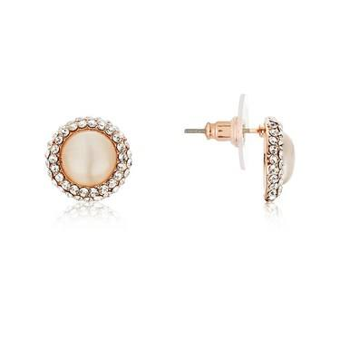 August Woods Rose Gold Rose Opal Circle Stud Earrings   - Click to view larger image