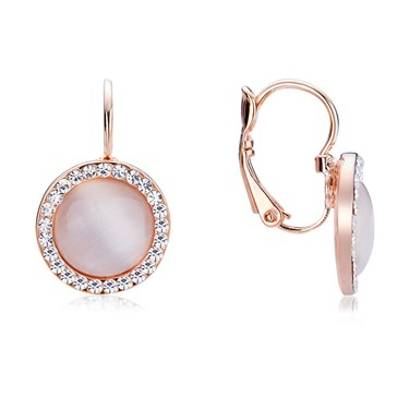 August Woods Rose Gold Rose Opal Halo Earrings   - Click to view larger image