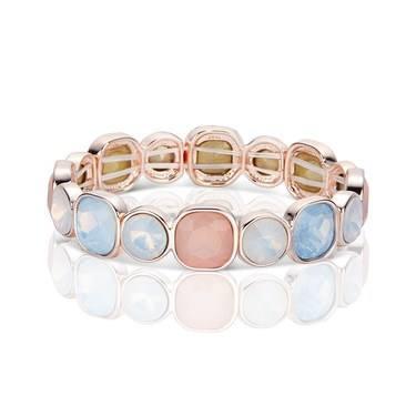 August Woods Rose Gold Rose Opal + Blue Drop Bracelet  - Click to view larger image
