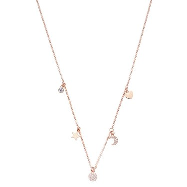 August Woods Rose Gold Crystal Charm Necklace   - Click to view larger image