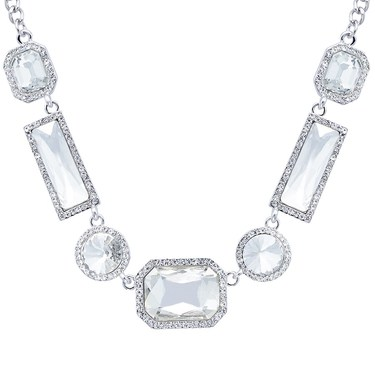 August Woods Silver Arctic Crystal Statement Necklace   - Click to view larger image