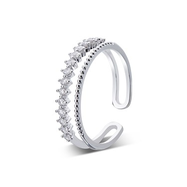 August Woods Silver Crystal Band Adjustable Ring   - Click to view larger image