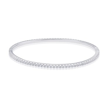 August Woods Silver Fine Crystal Bangle   - Click to view larger image