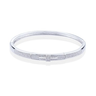 August Woods Silver Twist Crystal Bangle   - Click to view larger image