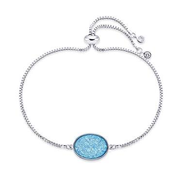 August Woods Silver Blue Minerals Druzy Bracelet   - Click to view larger image