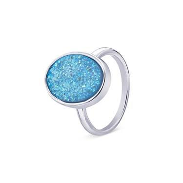 August Woods Silver Blue Minerals Druzy Ring   - Click to view larger image