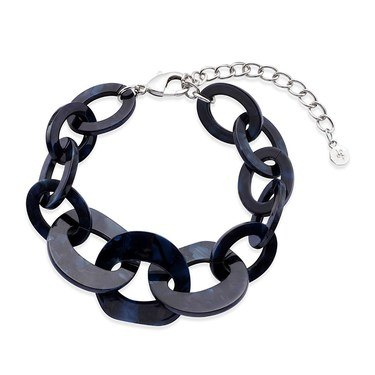 Dirty Ruby Navy Tortoiseshell Chunky Bracelet   - Click to view larger image