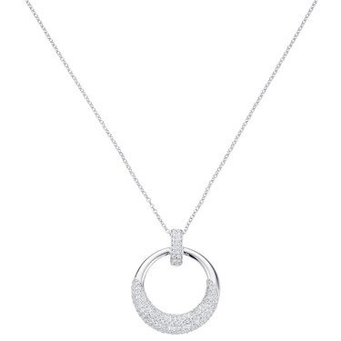 August Woods Silver Pave Open Circle Necklace   - Click to view larger image