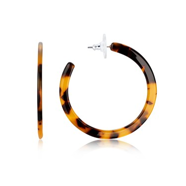 Dirty Ruby Gold Tortoiseshell Hoop Earrings   - Click to view larger image
