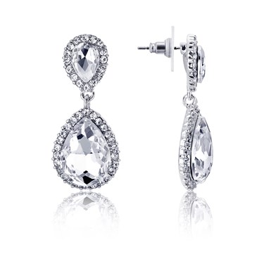 August Woods Silver Pave Drop Earrings   - Click to view larger image