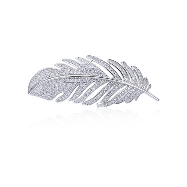 August Woods Silver Crystal Feather Brooch   - Click to view larger image