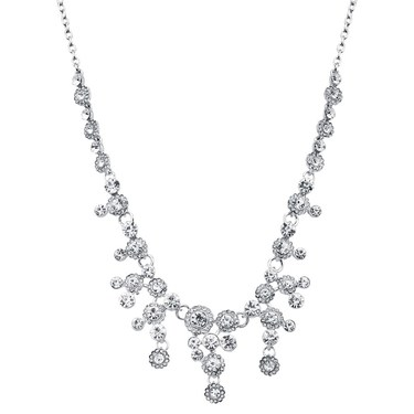 August Woods Silver Statement Crystal Drop Necklace - Silver