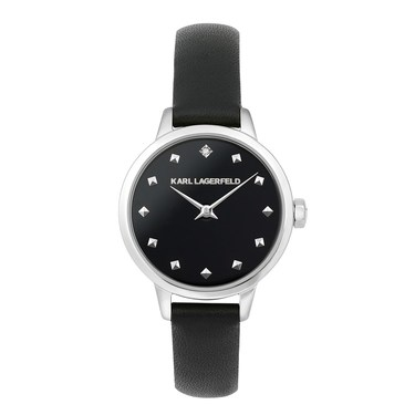 Karl Lagerfeld Klassic Karl Studded Black Leather Watch   - Click to view larger image