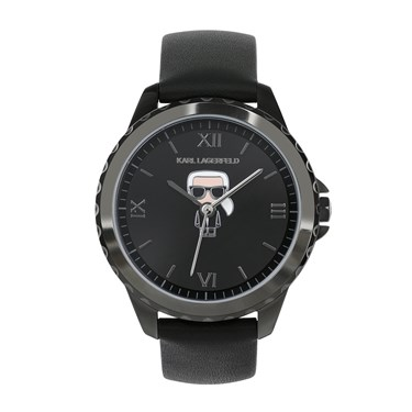 Karl Lagerfeld Ikonic Karl Black Leather Watch   - Click to view larger image