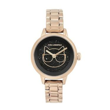 Karl Lagerfeld Rose Gold Choupette Crystal Watch   - Click to view larger image