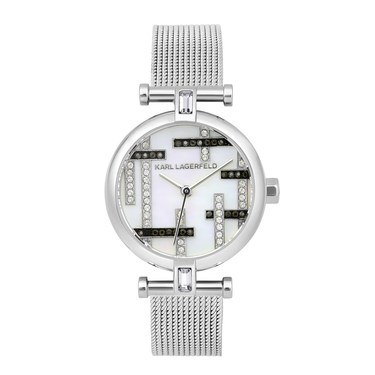 Karl Lagerfeld Silver Boucle Mesh T-bar Watch  - Click to view larger image