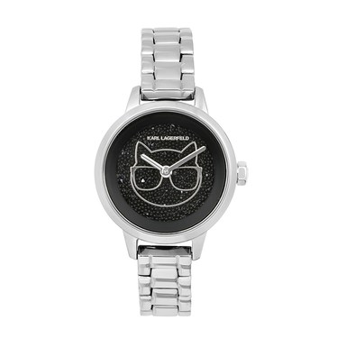Karl Lagerfeld Silver Choupette Crystal Watch   - Click to view larger image