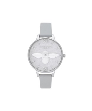 Olivia Burton 3D Bee Silver Glitter Eco Friendly Watch   - Click to view larger image