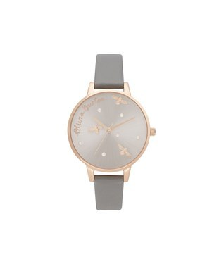 Olivia Burton Pearly Queen Grey & Rose Gold Vegan Watch   - Click to view larger image