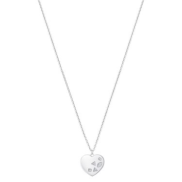 Argento Silver Crystal Print Heart Necklace  - Click to view larger image