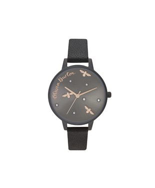 Olivia Burton Pearly Queen Matte Black & Rose Gold Watch   - Click to view larger image