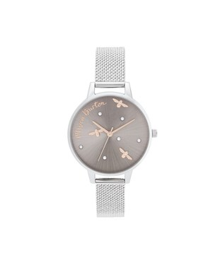 Olivia Burton Pearly Queen Silver & Rose Gold Mesh Watch   - Click to view larger image