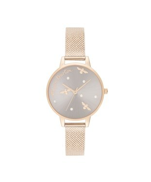 Olivia Burton Pearly Queen Rose Gold Mesh Watch   - Click to view larger image