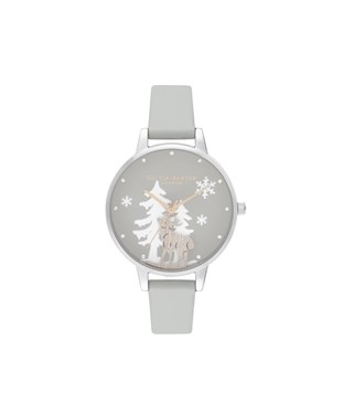 Olivia Burton Winter Wonderland Grey & Silver Vegan Watch   - Click to view larger image